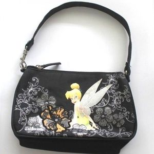 Disney Tinkerbell Floral Swirl Black Small purse